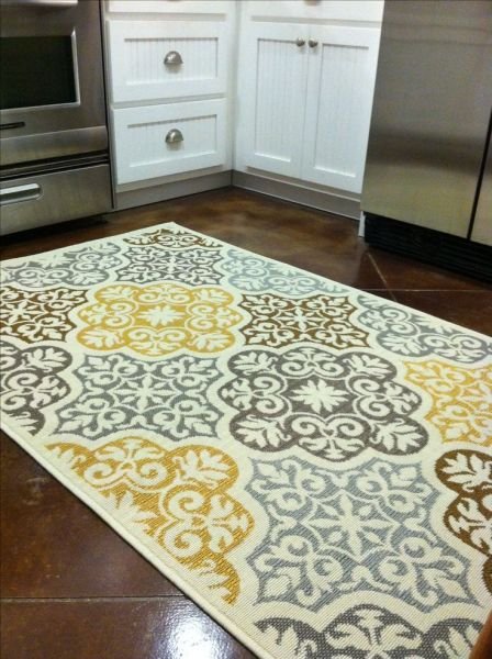 yellow kitchen runner rug Kitchen rug : purchased from Overstock.com. Blue, grey