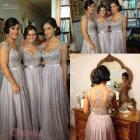 Fashion Grey Long Chiffon Lace Bridesmaids Dress Wedding ...