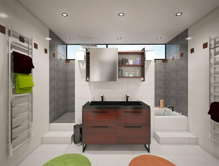 Baignoire et douche derrire meuble vasque  Dco  Salle