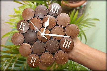 Coconut Shell Clock  Arts and Crafts from India