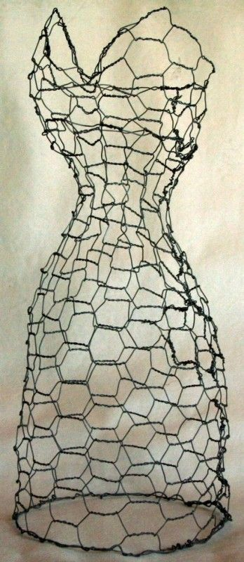 chicken wire dress form … make one of these for the garden and would love great with morning glories on it