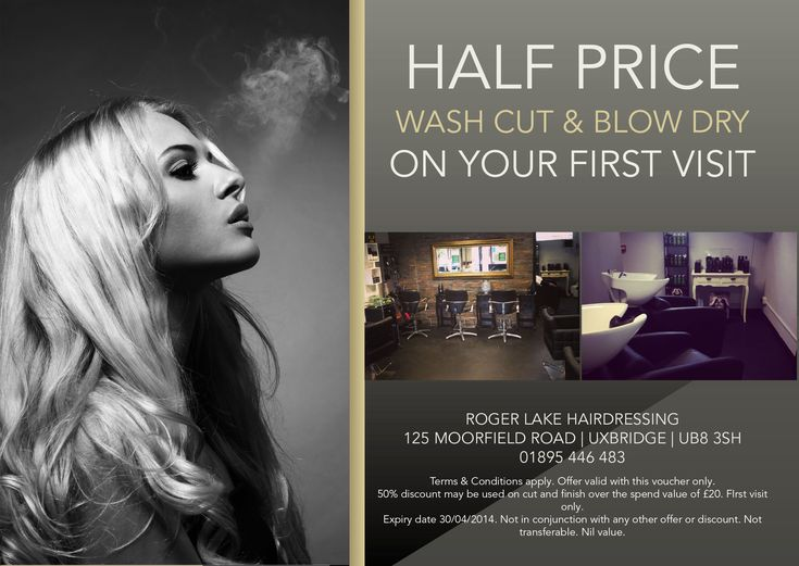 Hair Salon Flyer Offering Discounts HAIR Stylist