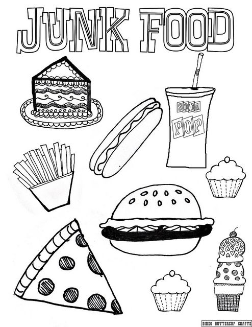 Junk Food 8.5''by11'' coloring page by BingoButtercup, via