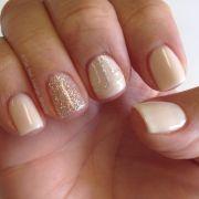 simple nude & glitter gel nail