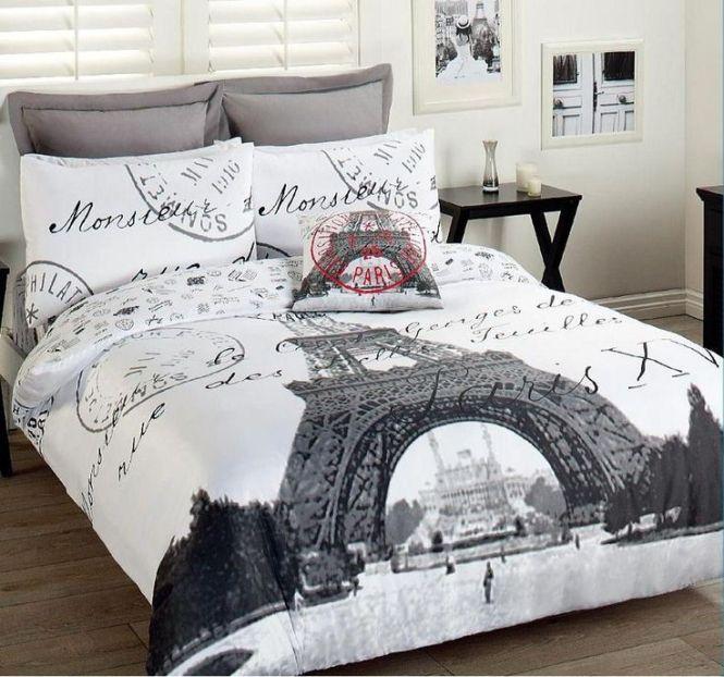 Paris Eiffel Tower Comforter Set 3pcs Double Bed France Themed Bedroomsparis Bedroomdream