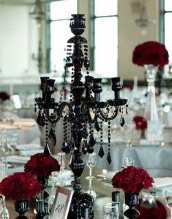 Black candelabra…and fun black pedestals(I have some of those pedestals)