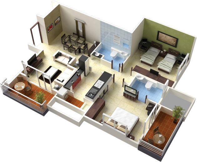 Minimalist Model Floor Plan 3d On Decoration Redesign Model