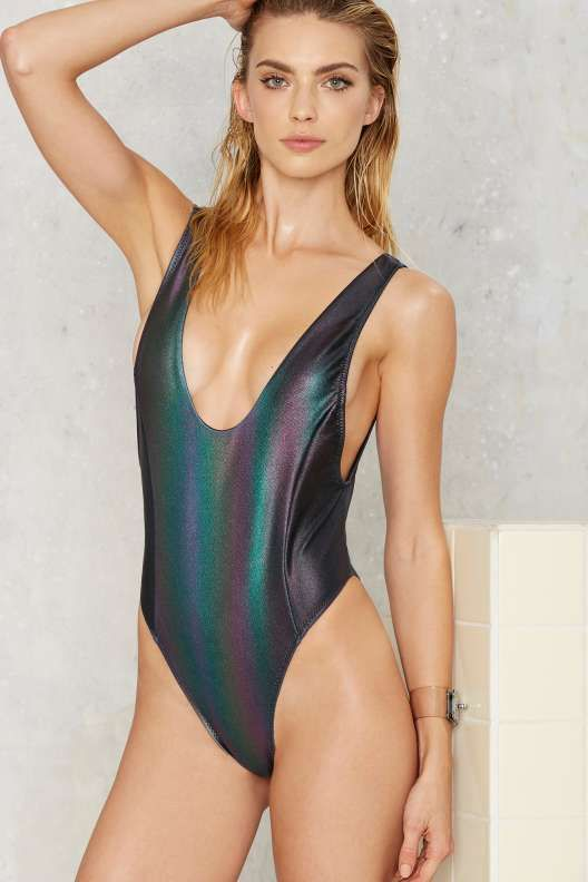 Nasty Gal Skye Oil Slick Hologram Swimsuit  Thanks Its