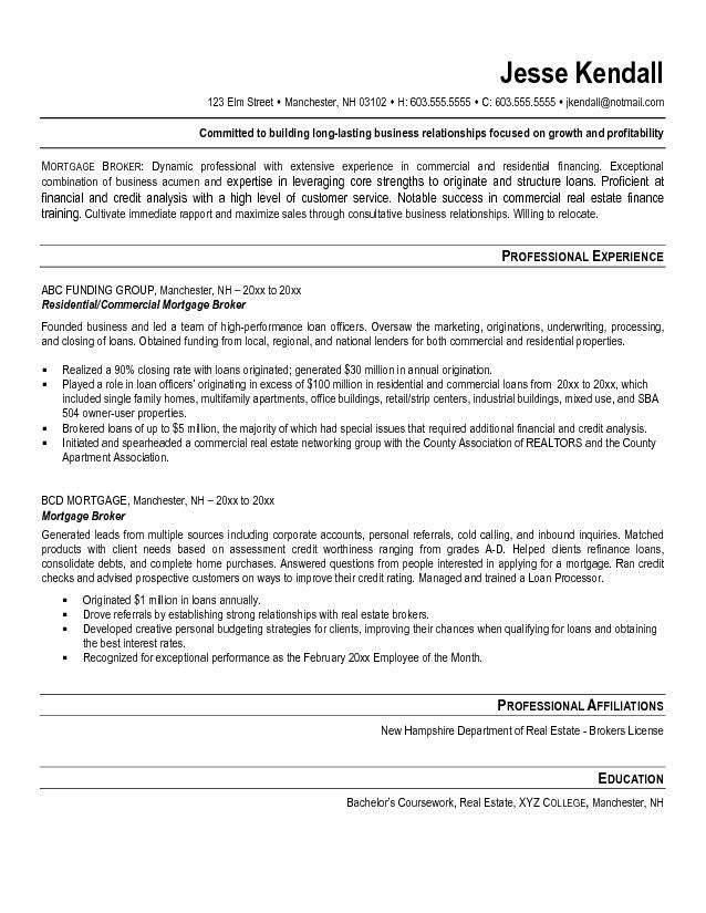 mortgage broker resume example  Tammys Resume  Pinterest  Resume examples and Resume objective