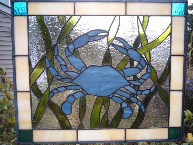 Blue Crab Stained Glass Panel  Stained glass Glass panels and Glasses