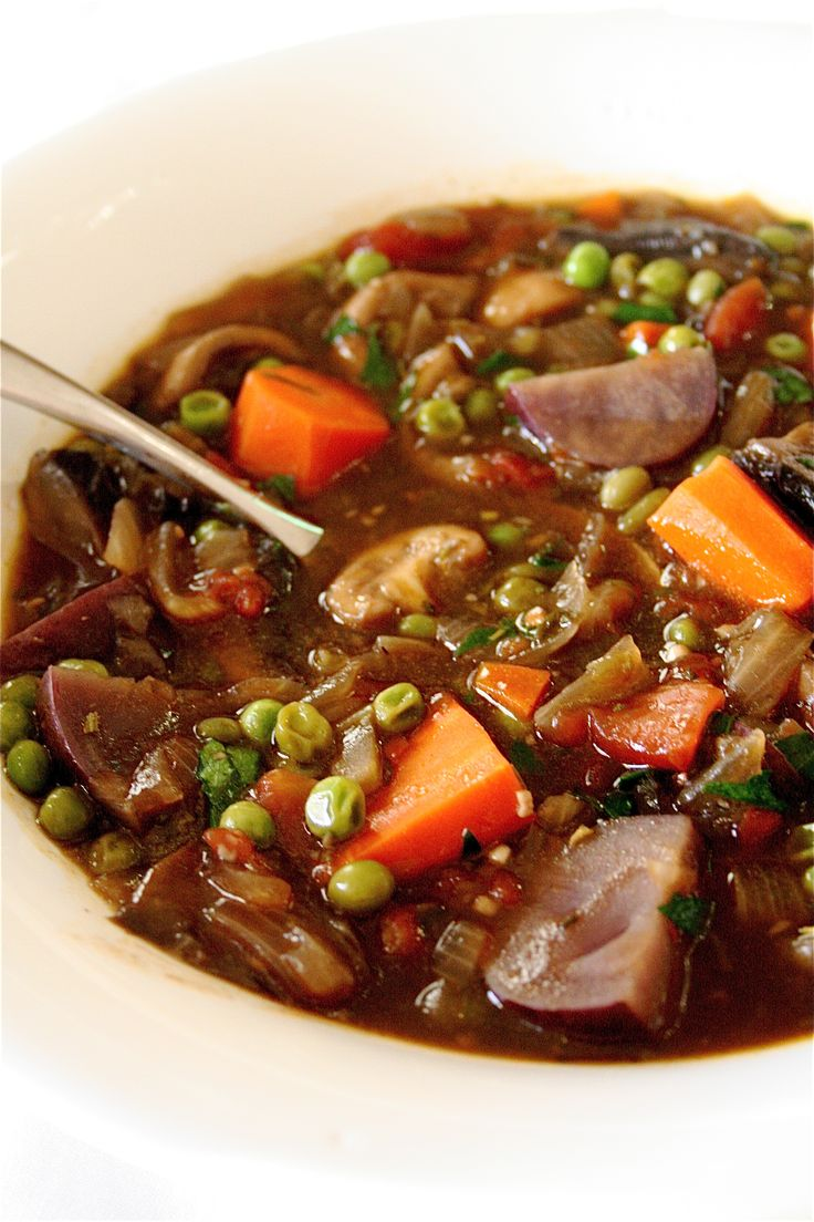 Vegetarian stew. Made this last night – who knew a vegetarian stew could be so darn tasty? Even hubby, who insists on meat, loved
