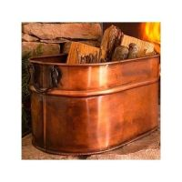 Copper Firewood Tub Wood Holder for Fireplace Cast Iron ...