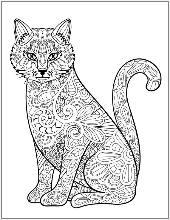 629 best Adult Colouring~Cats~Dogs ~Zentangles images on