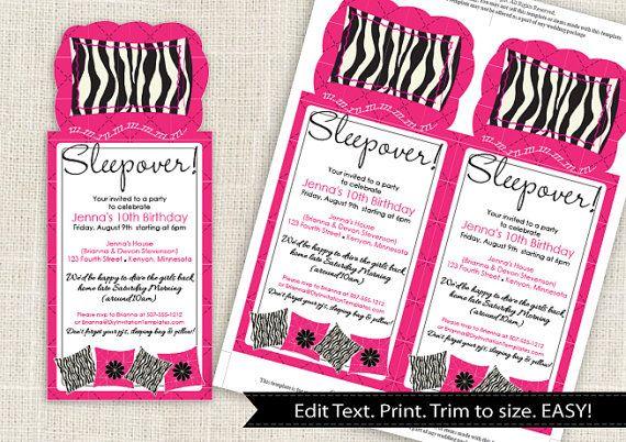 Zebra Sleepover Party Invitation Template DOWNLOAD