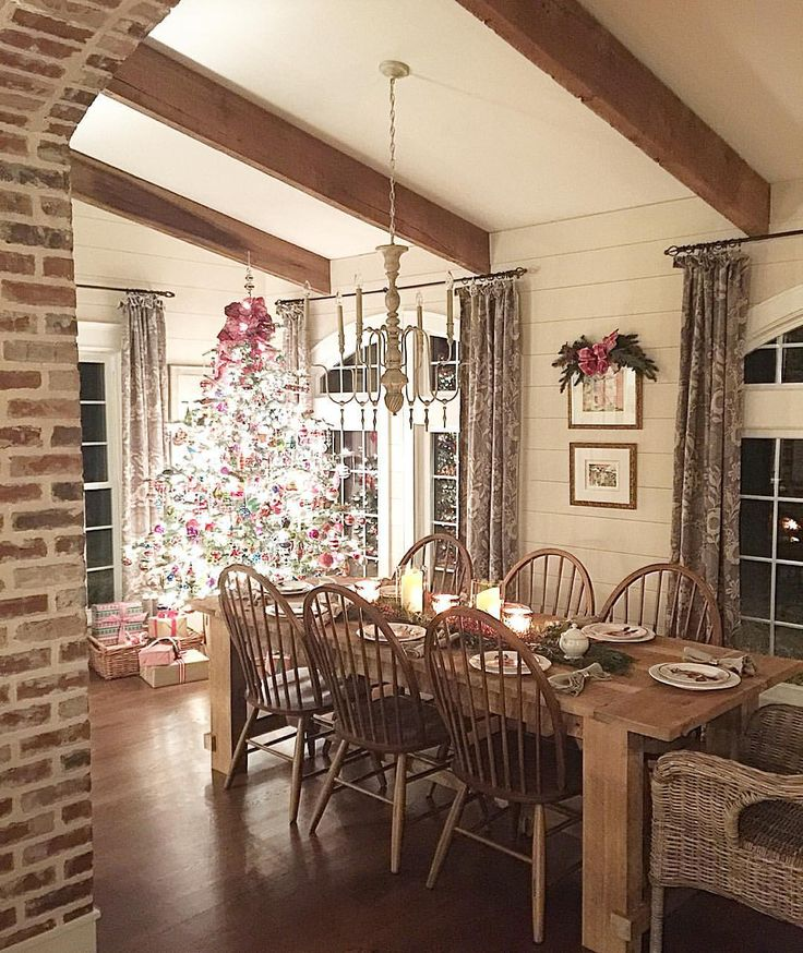 rustic kitchen table cherry cart beams, shiplap, and brick! | house ideas pinterest ...