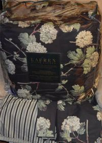 RALPH LAUREN Hydrangea Black Floral QUEEN COMFORTER SET ...