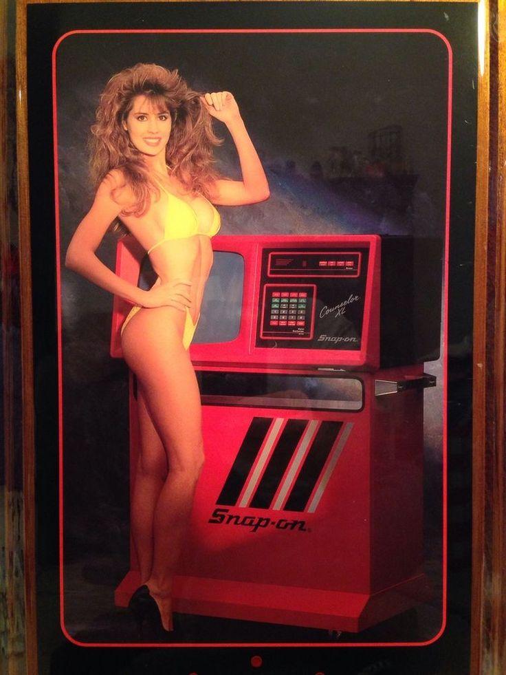 80s Car Wallpaper Snap On Tools Clock Pin Up Calendar Girl Yellow Bathing