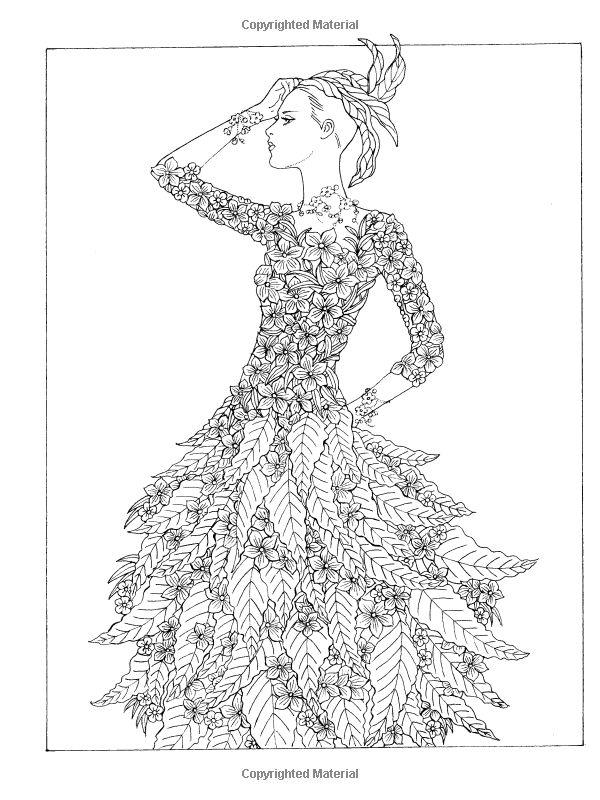 Dover Publications Creative Haven Flower Fashion Fantasies