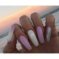 White And Lavender Coffin Nails by MargaritasNailz ...