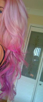 blonde hair with pink & purple