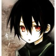 black haired red eyed anime boy