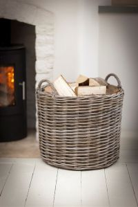 Large Round Wicker Log Basket | Fireside | Garden Trading ...