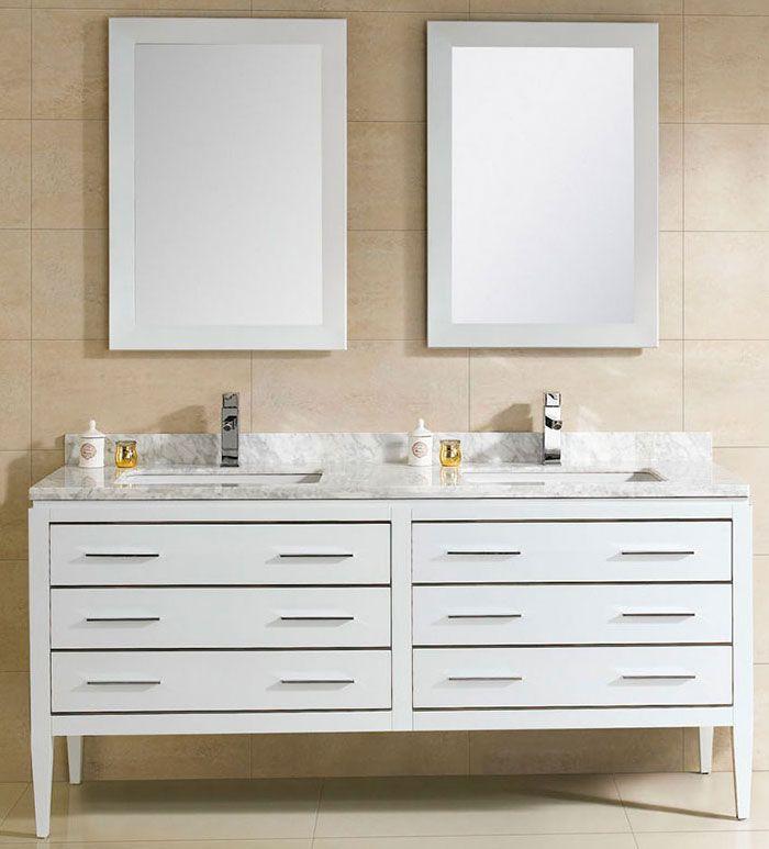 At Adoos 60 inch Modern Double Sink Bathroom Vanity White