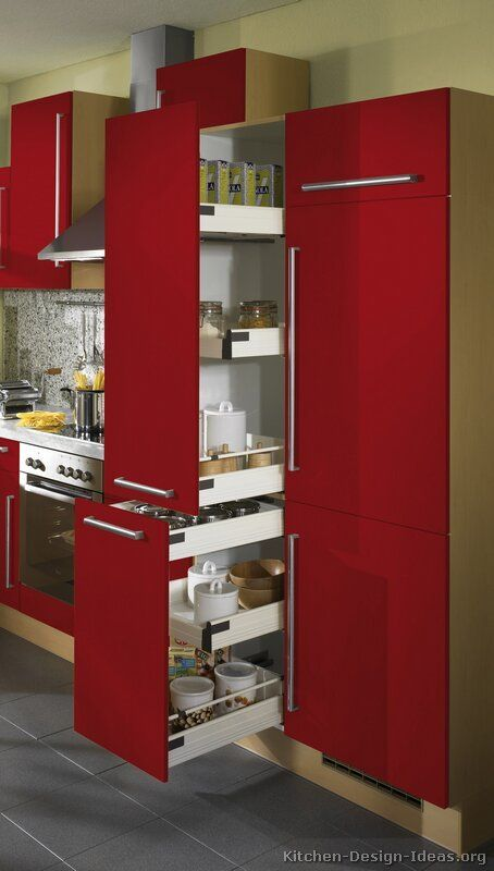 salvaged kitchen cabinets 36 inch round table #kitchen of the day: modern red kitchens. pull-out pantry ...