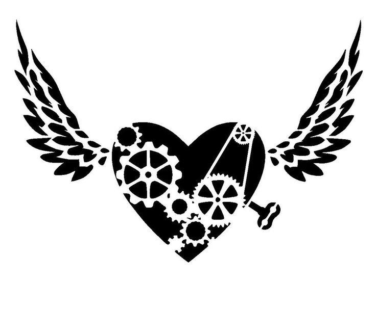 Details about steampunk heart stencil 2 craft,fabric,glass