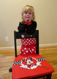 Minnie Mouse hand painted chair. Painted in Red, Black