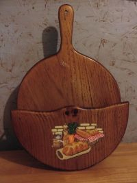 Mid Century Wooden Wall Hanging Paper Plate Holder ...