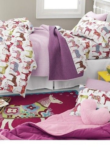 Garnet Hill Comforter Cover Duvet Sheet SET Painted Ponies