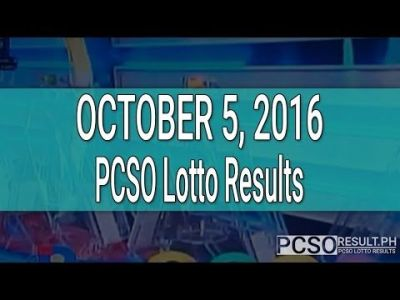 PCSO Lotto Results October 5, 2016 (6/55, 6/45, 4D ...