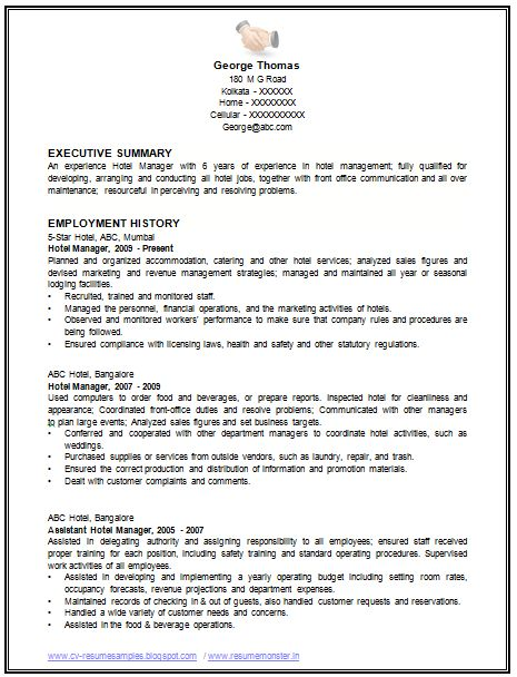 Sample Template Of An Excellent Restaurant Manager Resume