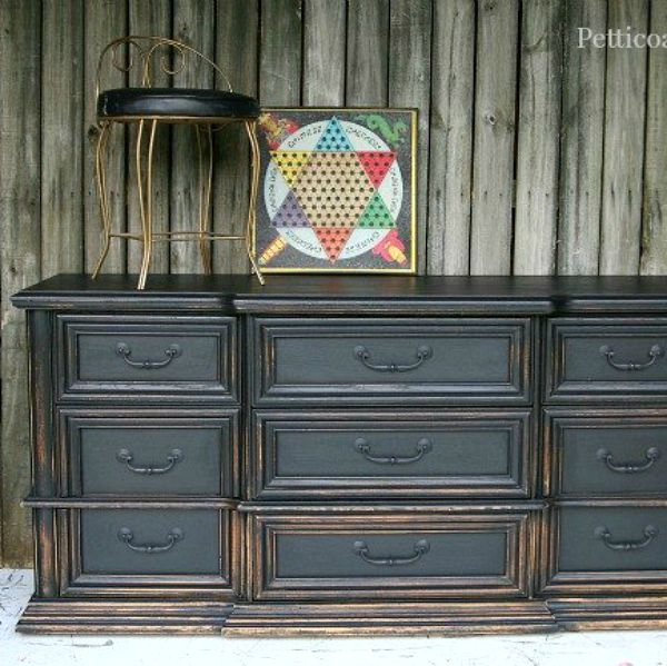 11 Designer Decor Looks You Can Make On the Cheap  Distressed dresser Trucks and Black