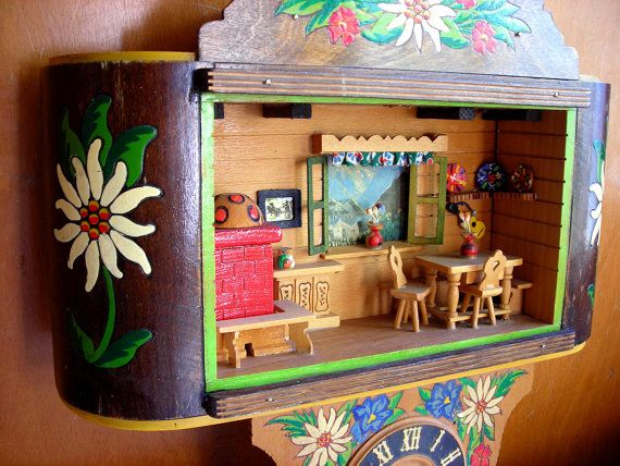 house of turquoise living room design ideas for small apartments vintage german clock - diorama music box edelweiss ...