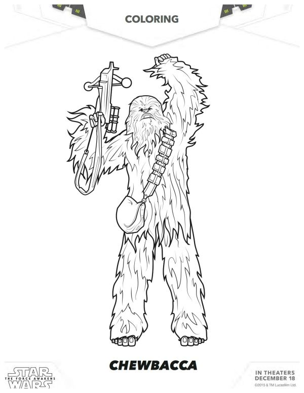 Star Wars: The Force Awakens Chewbacca Coloring Page