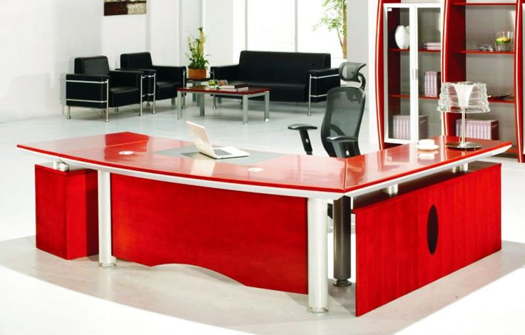 Modern Red Computer Desk Design With Black Chair And