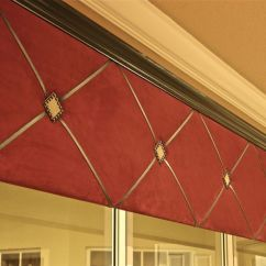Kitchen Window Valances Lowes Delta Faucets Suede Cornice With Black Crown Moding, Leather Criss Cross ...