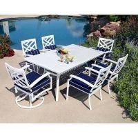 7pc aluminum outdoor dining table & chairs white patio ...