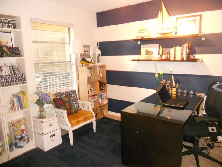 Nautical Striped Office Design  ROOMS HOME OFFICE IDEAS  Pinterest  Nautical Navy blue and