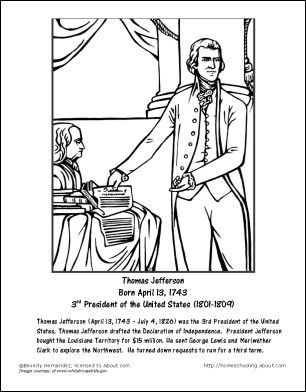 Coloring, Thomas jefferson and Coloring pages on Pinterest