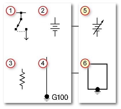 Automotive wiring basic symbols (1) Switch, (2) Battery