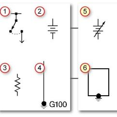 Automotive Electrical Wiring Diagrams Symbols Plate Heat Exchanger Diagram Basic (1) Switch, (2) Battery, (3) Resistor, (4) Ground. (5) Variable ...