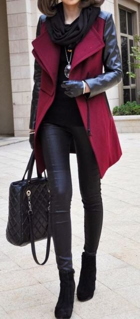 Winter street fashion, black shirt, leather leggings over red peacoat Shop The Top Women's Apparel Online Stores via http://AmericasMall.com/categories/womens-wear.html: