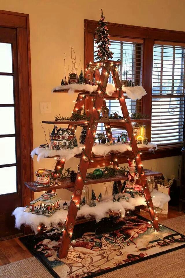 Christmas village and Christmas tree made from an old wooden painted ladder  Holiday Decor and Party Ideas  Pinterest  Christmas trees