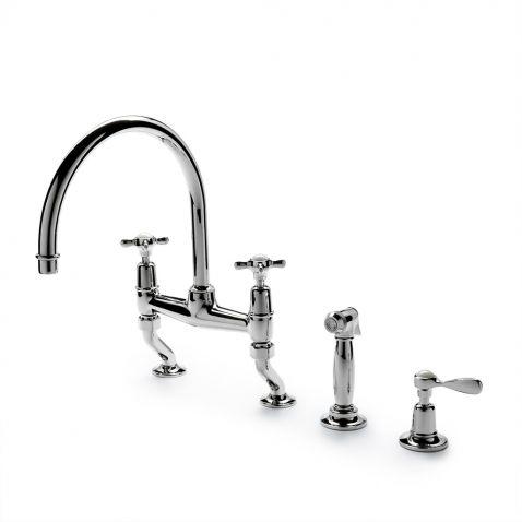 waterworks kitchen faucets outdoor modular easton classic deck mounted gooseneck two hole bridge ...