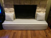 Fireplace cover - child proofing the stone hearth Gray and ...