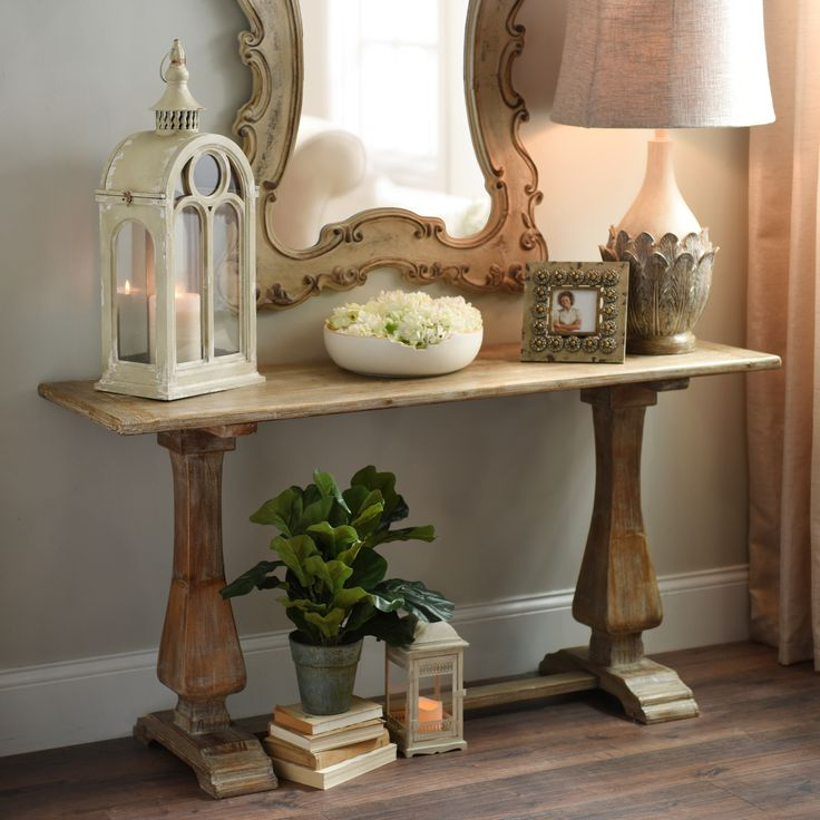 Distressed Natural Pedestal Console Table  Foyer paint Entryway and Entryway tables