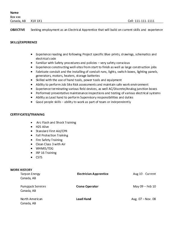 resume examples for electrical apprentice